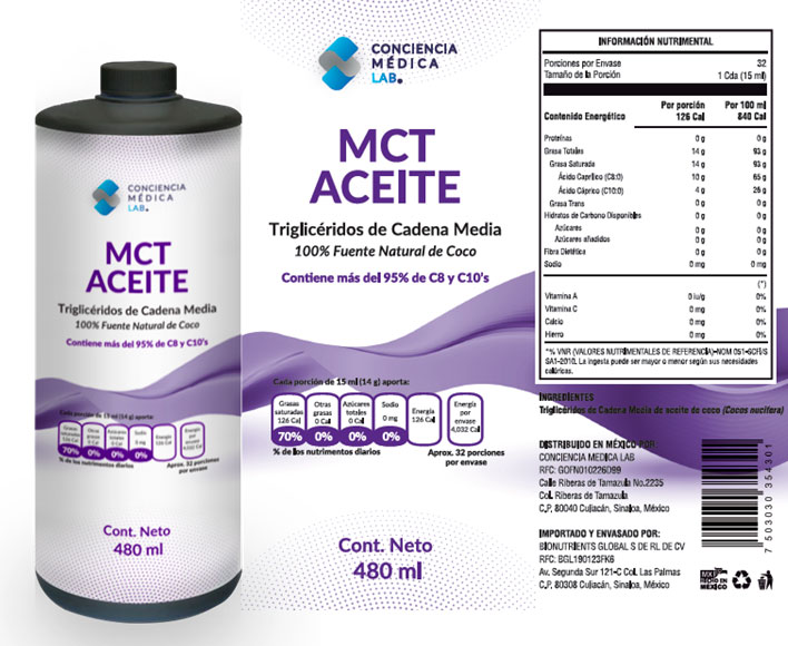 ACEITE MCT - ACEITE DE COCO - BAJAR DE PESO